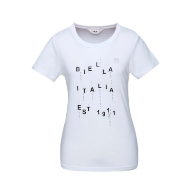 FILA 女款短袖圓領T恤-白色 5TET-1521-WT