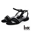 【bac】紐約不夜城 - 多層一字帶特殊鞋跟涼鞋-黑