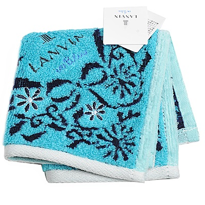 LANVIN en bleu 小花圖騰品牌字母LOGO刺繡小方巾(藍色系)