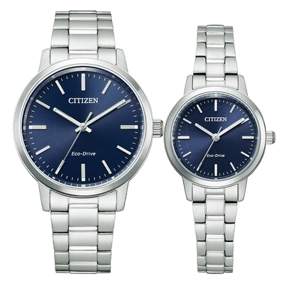 CITIZEN Eco-Drive 極簡風格時尚對錶-銀X藍-BJ6541-58L_EM0930-58L
