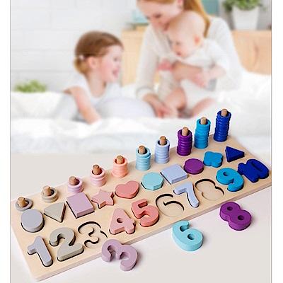 經典木玩 三合一數字形狀對數兒童益智教學(兒童教育玩具)(36m+)