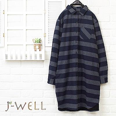 J-WELL 厚棉橫紋長版襯衫外套(2色)