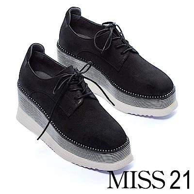 休閒鞋 MISS 21 摩登時尚珠鍊真皮厚底綁帶休閒鞋-黑
