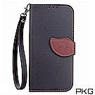 PKG 華碩ASUS Zenfone5/5Z ZE/ZS620 側翻式皮套-葉子磁扣款-黑