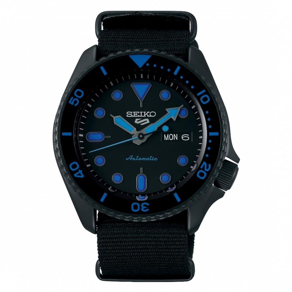 SEIKO 5 sport運動潮流機械腕錶/黑色4R36-07G0A(SRPD81K1)