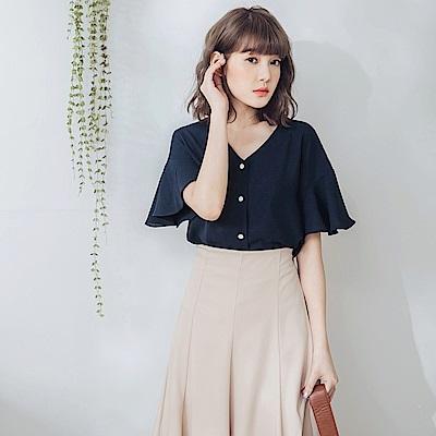 純色造型釦荷葉袖無領襯衫/上衣-OB大尺碼