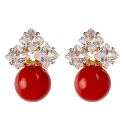 梨花HaNA 韓國情人紅珍珠三顆方鑽金緻耳環