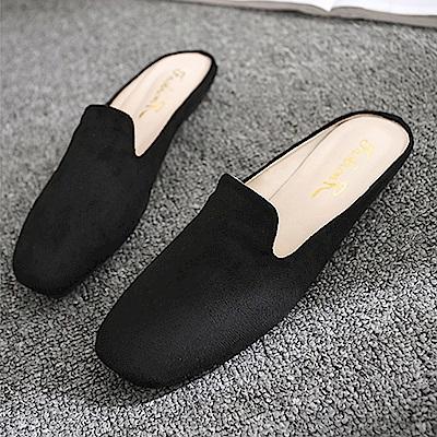 韓國KW美鞋館 輕柔樂活粉嫩平底拖鞋-黑色