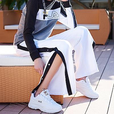 FILA 女款寬版排扣褲-白 5PNS-5419-WT