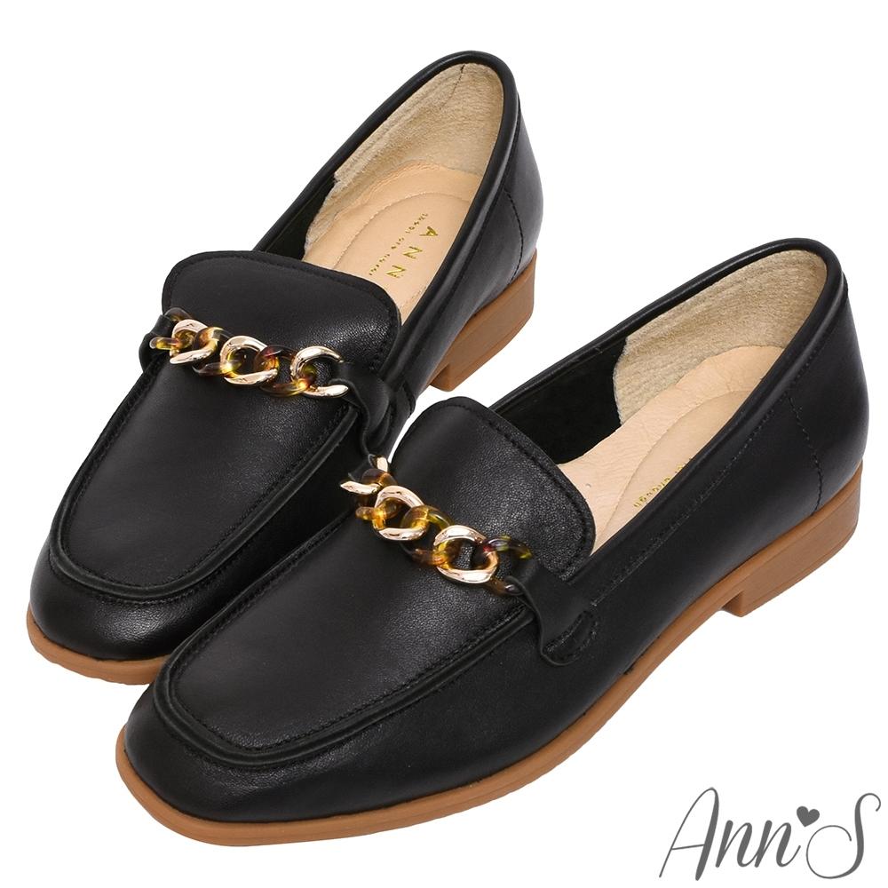 Ann'S典雅琥珀鍊帶全真皮平底紳士鞋-黑