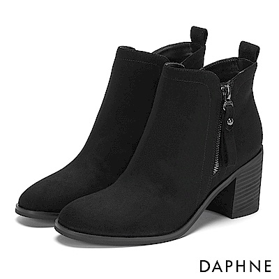 達芙妮DAPHNE 短靴-原色絨面雙側拉鏈木紋粗跟靴-黑