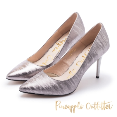 Pineapple Outfitter 時髦女伶 性感尖頭仿金屬高跟鞋-特殊紋鐵色