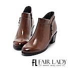 Fair Lady 率性優雅拉鍊粗跟短靴 咖