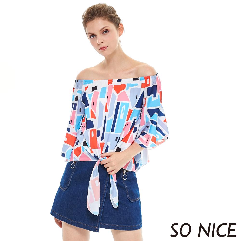 SO NICE繽紛幾何印花一字領上衣