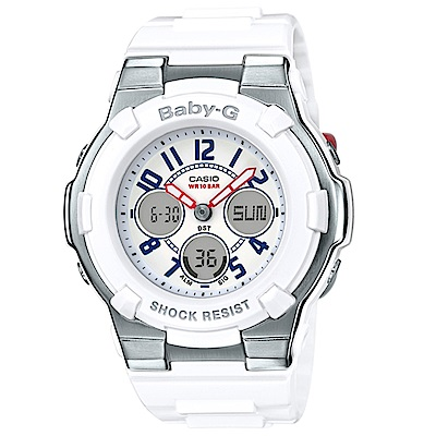 BABY-G清爽海軍風配色概念兩針三眼設計休閒錶(BGA-110TR-7B)-39.8mm
