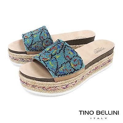 Tino Bellini 巴西進口異國風情繽紛珠飾麻編厚底涼拖鞋 _ 圖騰