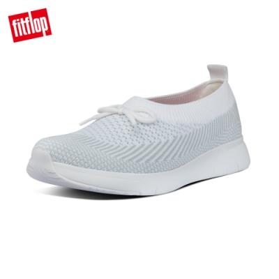 FitFlop ADORA BOW MARBLEKNIT BALLERINAS休閒娃娃鞋-女(白色/暴風灰)