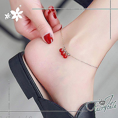 iSFairytale伊飾童話 紅莓氣泡 玫瑰金鈦鋼手腳鍊