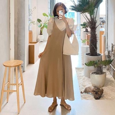 La Belleza雙V領素面棉麻細肩吊帶大擺裙背心裙