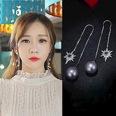 梨花HaNA 韓國925銀星芒滿鑽珍珠耳線長耳環
