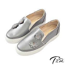 【T2R】全真皮手工立體花樣造型懶人鞋/樂福鞋-灰
