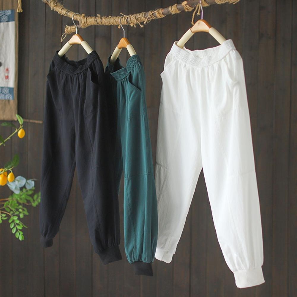 寬鬆束腳純棉百搭顯瘦薄九分哈倫褲子三色-設計所在