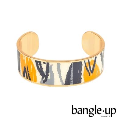 BANGLE UP 手繪線條風格琺瑯鍍金開口手環 -復古黃灰