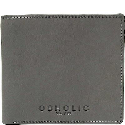 OBHOLIC 灰色牛皮男士錢包皮夾短夾(相框款)