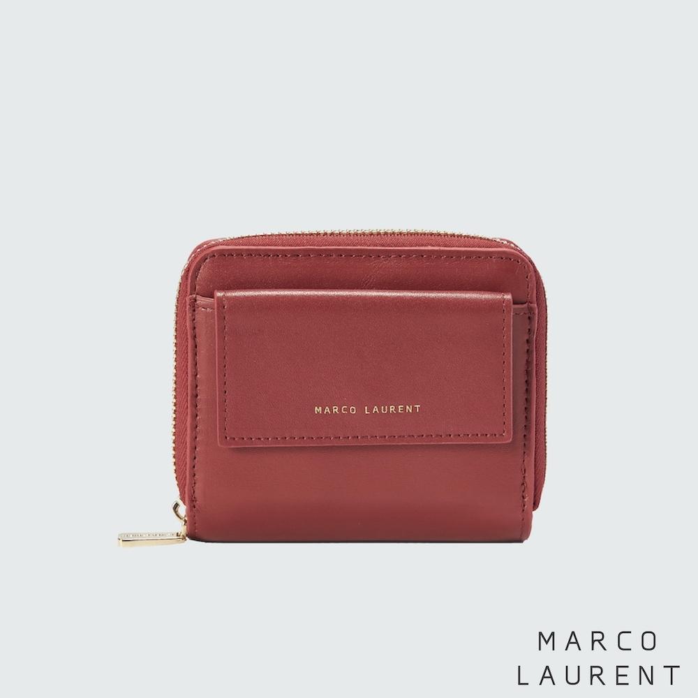 MARCO LAURENT 永恆時光兩折式拉鍊短夾 - 紅色