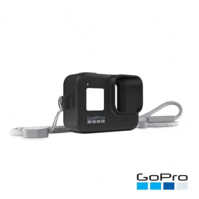GoPro-HERO8 Black專用矽膠護套+繫繩-子夜黑AJSST-001