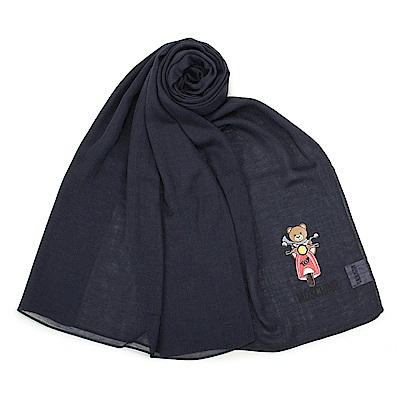 MOSCHINO 經典TOY小熊棉麻混絲薄圍巾-深藍色
