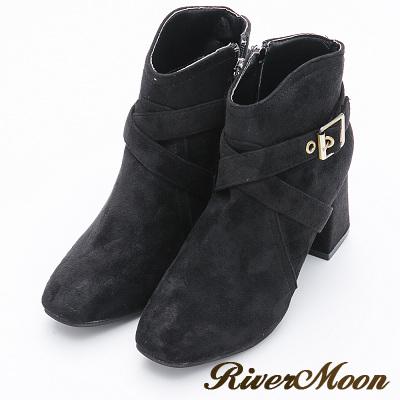 River&Moon短靴-氣質顯瘦V口絨質粗跟短靴-黑
