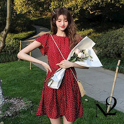洋裝 點點圖樣包袖修身雪紡短袖漣衣裙短裙洋裝(紅)N2
