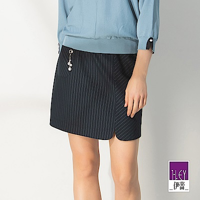 ILEY伊蕾 都會感彈性條紋褲裙(藍)