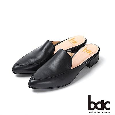 bac愛趣首爾 - 簡約尖頭素雅半包平底穆勒鞋-黑