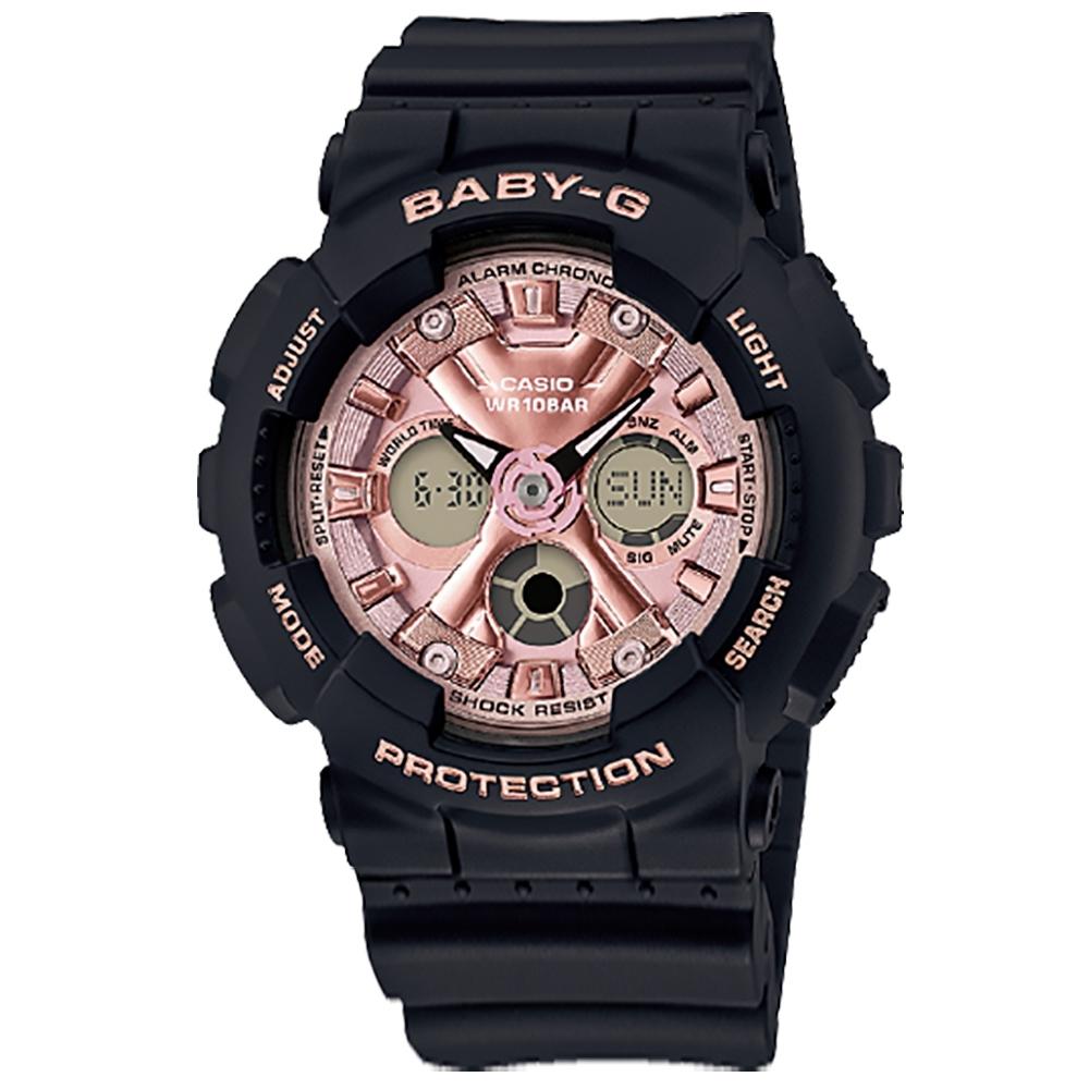 Baby-G CASIO 卡西歐 霧黑雙顯 帥氣甜美 計時 防水 運動 手錶-玫瑰金x黑/43mm