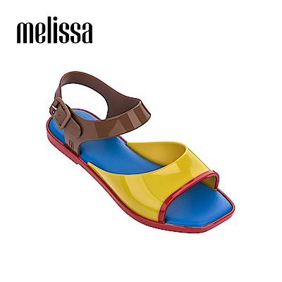Melissa 復古方頭撞色涼鞋-撞色