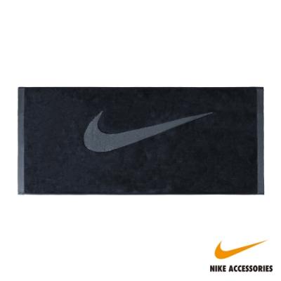 NIKE耐吉 運動毛巾(黑底灰勾)35X80 cm