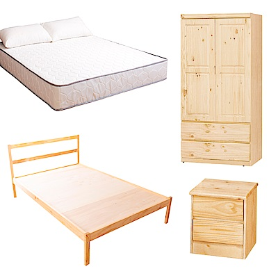 AS-頂級松木單人床四件房間組(床架+床墊+床頭櫃+衣櫥)