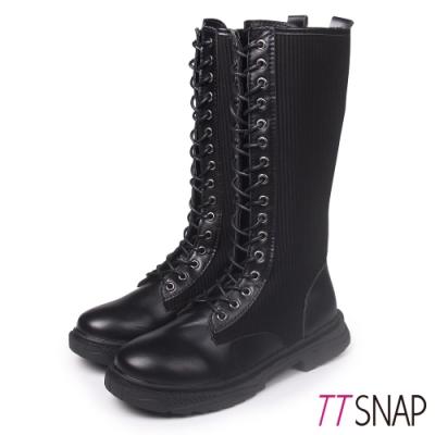 TTSNAP長靴-全綁帶拼接牛紋平底靴 黑