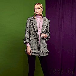 JESSICA - 十字毛呢抽鬚造型中長版西裝領外套