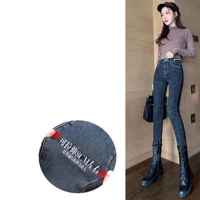 2F韓衣-韓系腰部字母彈力水洗牛仔褲
