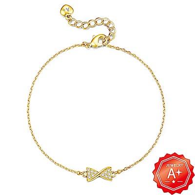 A+黃金 精緻滿鑽扭邊蝴蝶結 999千足黃金墜手鍊