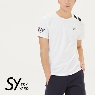 【SKY YARD 天空花園】雙槓運動風休閒圓領T恤-白色