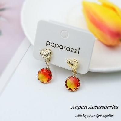 【ANPAN愛扮】韓東大門甜美愛心彩色水晶925銀針耳釘式耳環