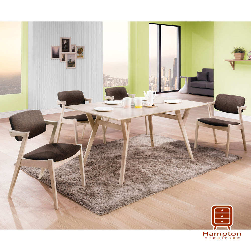 漢妮Hampton傑瑞德系列白橡木5尺餐桌椅組-1桌4椅-狄克布面餐椅