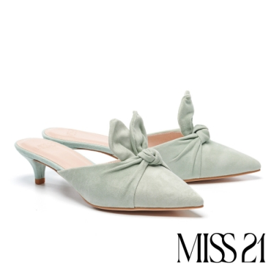 拖鞋 MISS 21 萌萌少女立體兔耳羊麂皮穆勒高跟拖鞋-綠