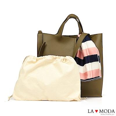 La Moda 簡約經典高質感絲巾緞帶裝飾肩背手提托特子母包(綠)