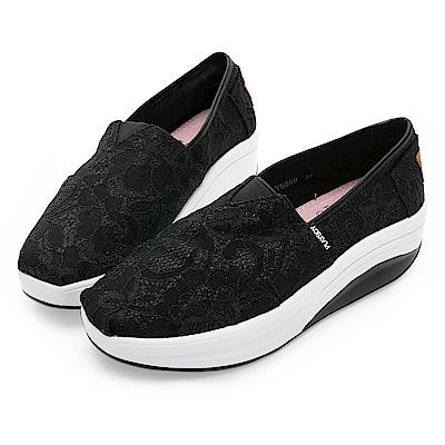 PLAYBOY 蕾絲女孩亮蔥輕量休閒鞋-黑