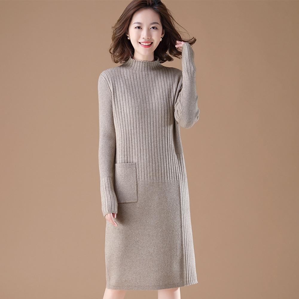 初色  時尚針織連身裙-共3色-(M-2XL可選)